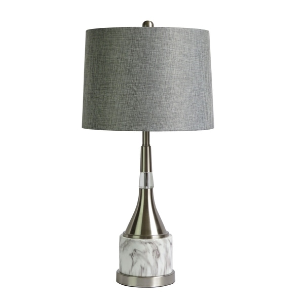 "Fangio Lighting's 1564 26"" Metal & Faux White Marble Table Lamp"