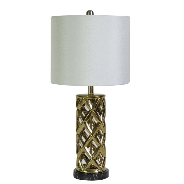 "Fangio Lighting's 8986GLD 26"" Gold/Black Faux Marble Table Lamp"