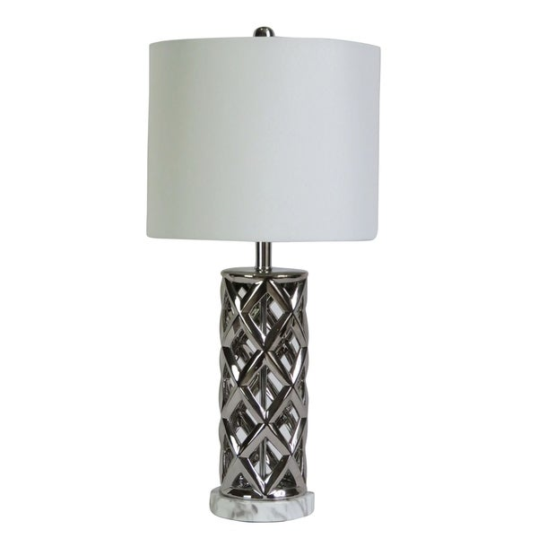 "Fangio Lighting's 8986SIL 26"" Nickel/White Faux Marble Table Lamp"