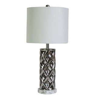 """Fangio Lighting's 8986SIL 26"""" Nickel/White Faux Marble Table Lamp"""
