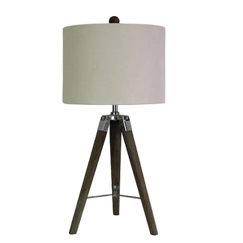 "Fangio Lighting's 2025SIL 28"" Weathered Grey Wood Tripod Table Lamp"