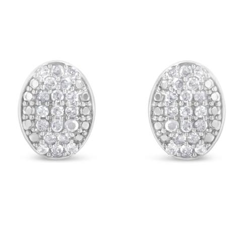 Sterling Silver 1/2ct TDW Round Diamond Oval Cluster Earrings (I-J,I3)