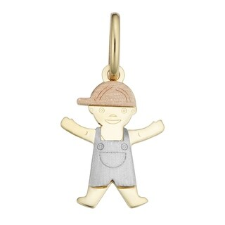 Fremada 14k Tricolor Gold Boy Pendant with Complementary Gold Filled Chain Nekclace