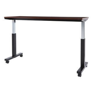 6 ft. Wide Pneumatic Height Adjustable Black Steel Frame Table with Mahogany Laminate Top