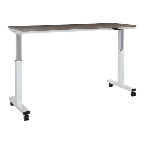 6 ft. Wide Pneumatic Height Adjustable White Steel Frame Table with Locking Black Casters and Laminate Top