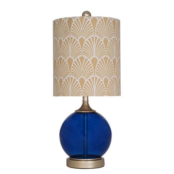 "Catalina Lighting Majesty 21"" Blue Glass Table Lamp"