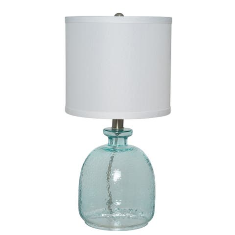 The Gray Barn Cedar Roost Ocean Blue Glass Table Lamp