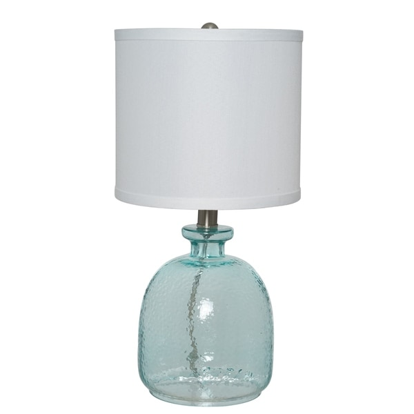 Catalina Lighting Penny Ocean Blue Glass Table Lamp