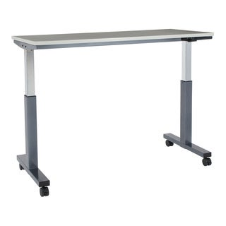 5 ft. Wide Pneumatic Height Adjustable Titanium Steel Frame Table with Grey Laminate Top