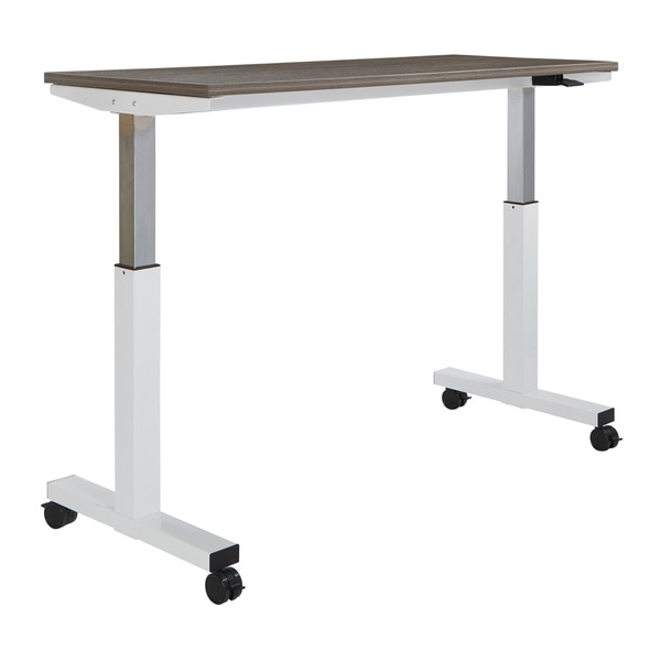 Wide Pneumatic Height Adjustable White Steel Frame Table With Locking Black  Casters And