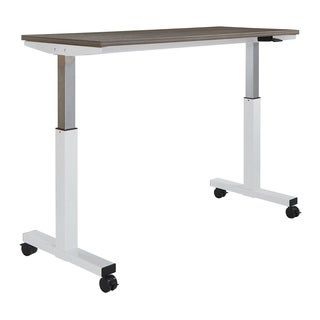 5 ft. Wide Pneumatic Height Adjustable White Steel Frame Table with Locking Black Casters and Laminate Top