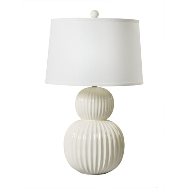 """Fangio Lighting's 8738 29"""" Stacked Ball Ceramic Table Lamp in White"""