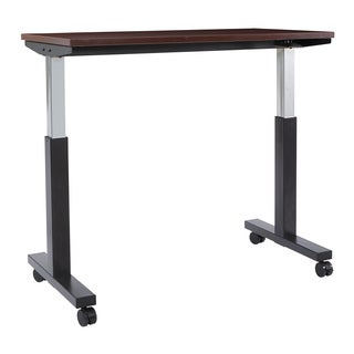 4 ft. Wide Pneumatic Height Adjustable Black Steel Frame Table with Mahogany Laminate Top