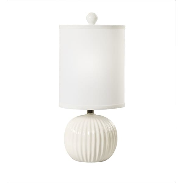 "Fangio Lighting's 8736 19"" Ribbed Ball Ceramic Table Lamp in White"