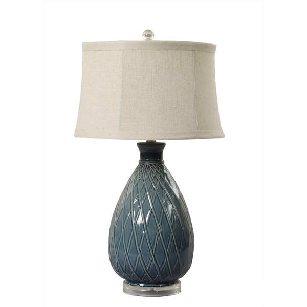 "Fangio Lighting's 8724 27.5"" Woven Ceramic Midnight Blue Table Lamp"