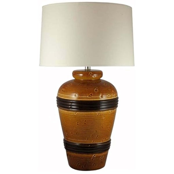 "Fangio Lighting's 8671SPBRN 28"" Ceramic Table Lamp in Spice Brown"