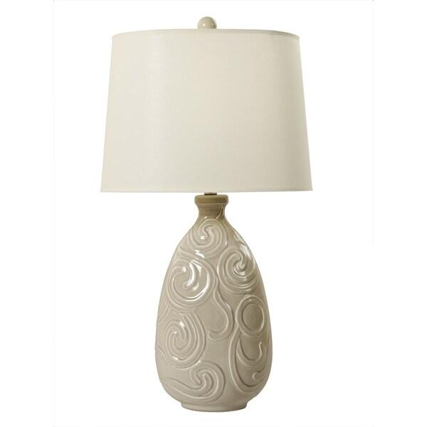 "Fangio Lighting's 8725 30"" Curled Swirl ransparent Grey Table Lamp"