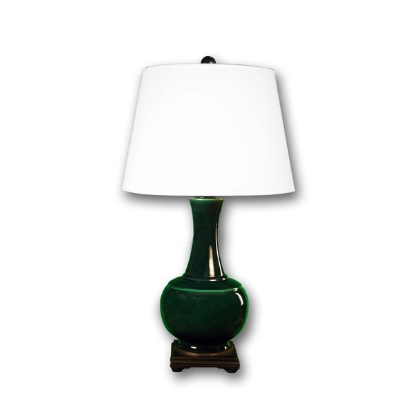 Fangio Lighting Genie Bottle Copper Green Table Lamp