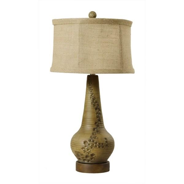 "Fangio Lighting's 8719 29"" Distressed Vase Ceramic Fossil Table Lamp"