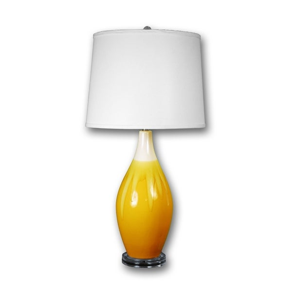 "Fangio Lighting's 8633SACD 30"" Sand/Amber Crackle Drip Table Lamp"