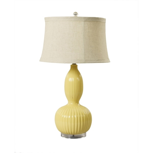 "Fangio Lighting's 8727STR 29"" Gourd Ceramic Table Lamp in Straw"