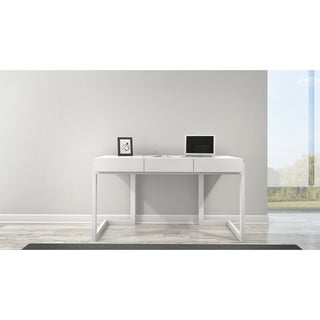 Furnitech Matte White Wood 56-inch Writing Desk