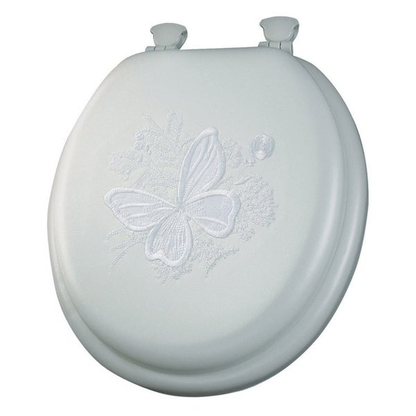 Mayfair Butterfly Round White Vinyl Cushioned Toilet Seat