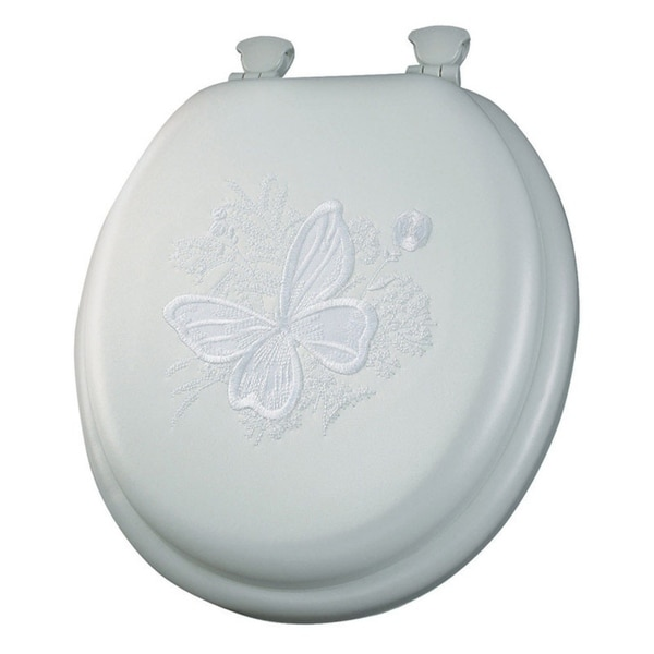 Shop Mayfair Butterfly Round White Vinyl Cushioned Toilet