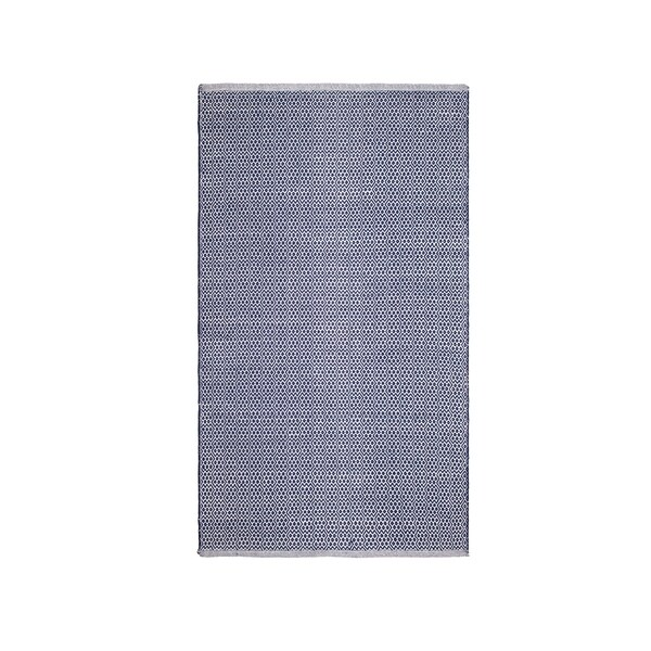 Fab Habitat 100% Recycled Cotton Flat Weave Handwoven Floor Mat Area Rug - Bodhi - Blue (6' x 9') - India - 6' x 9'