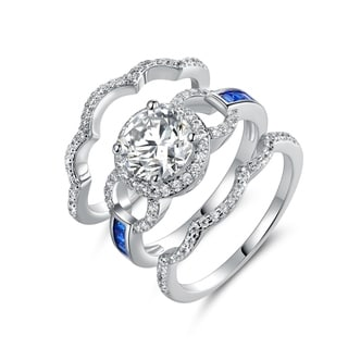 Link to White Rhodium Plated Blue Colored Quartz Cubic Zirconia 3pcs Ring Set Similar Items in Rings