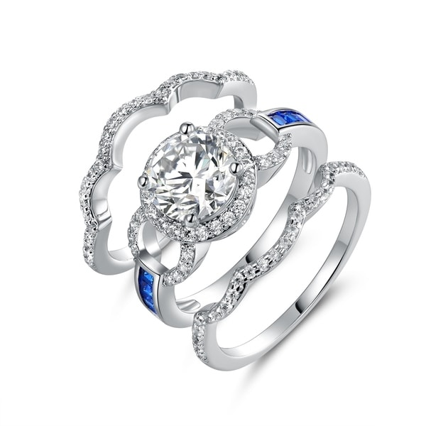 White Rhodium Plated Blue Colored Quartz Cubic Zirconia 3pcs Ring Set. Opens flyout.