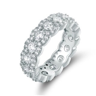 Rhodium Plated Cubic Zirconia Band Ring