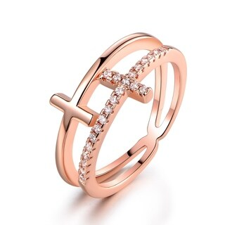 Rose Gold Plated Cubic Zirconia Double Cross Ring