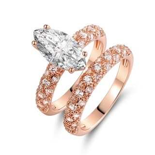 Rose Gold Plated Marquise-Cut Cubic Zirconia 3 Row Bridal Ring Set