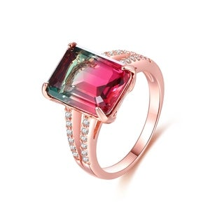 Rose Gold Plated Watermelon Quartz Emerald-Cut Ring