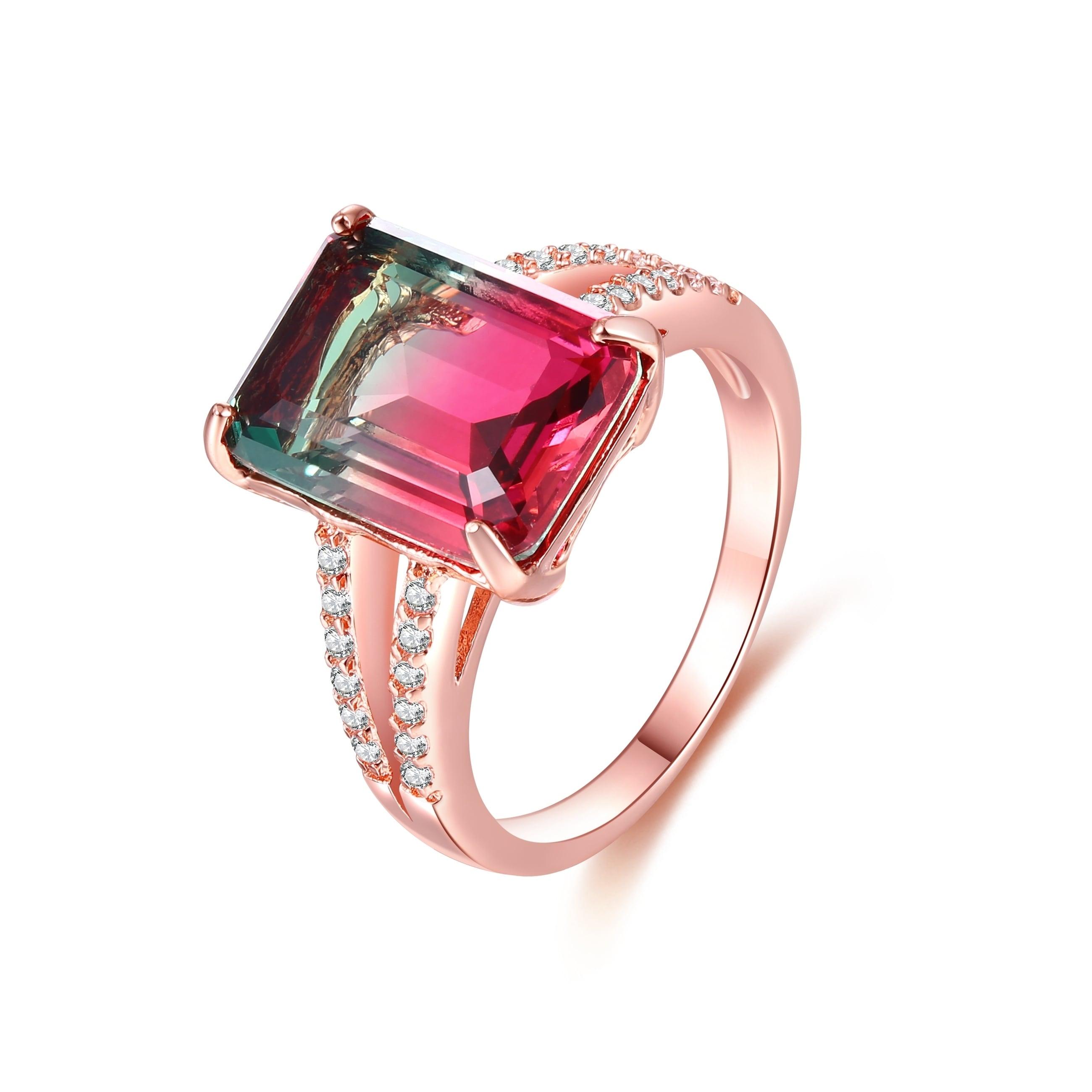 Rose Gold Plated Watermelon Quartz Emerald Cut Ring Overstock 19858366