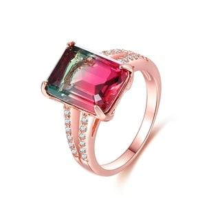 Rose Gold Plated Watermelon Quartz Emerald-Cut Ring