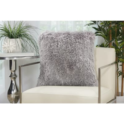 Mina Victory Yarn Shimmer Shag Throw Pillow by Nourison