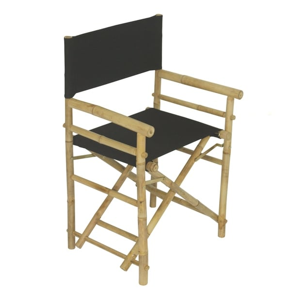 Bamboo Director Chair Black Canvas Set Of 2 Chairs