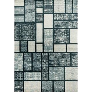 "Persian Rugs 1007 Blue Grey Black Modern Area Rug - 7'10"" x 10'2"""