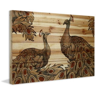 Marmont Hill - Handmade Peacock Partner Bold II Painting Print on Natural Pine Wood