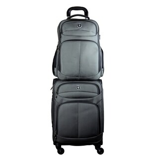 """Swissdigital Lucerne Upright Carry-on 20-inch suitcase + 17"""" Backpack Combo"""