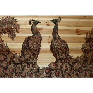 Marmont Hill - Handmade Peacock Partner Bold I Painting Print on Natural Pine Wood