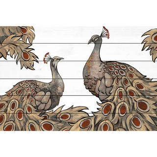 Marmont Hill - Handmade Peacock Partner III Painting Print on White Wood