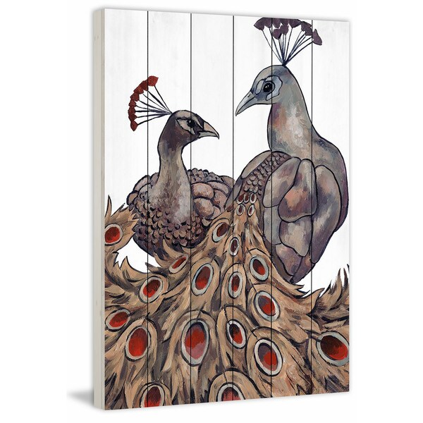 Marmont Hill - Handmade Peacock Partner II Painting Print on White Wood