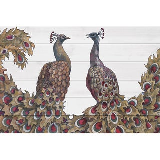 Marmont Hill - Handmade Peacock Partner I Painting Print on White Wood