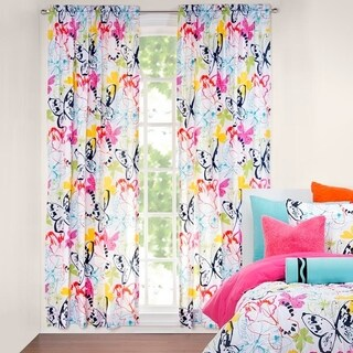 Crayola Flutterby 84 Inch Rod Pocket Artsy Butterfly Curtain Panel