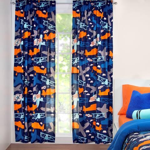 Crayola Take Flight Single Rod Pocket 84 inch Airplane Curtain Panel