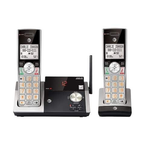 AT&T DECT 6.0 Digital Cordless 2 Handsets Built In Answering Machine Answering System Silver