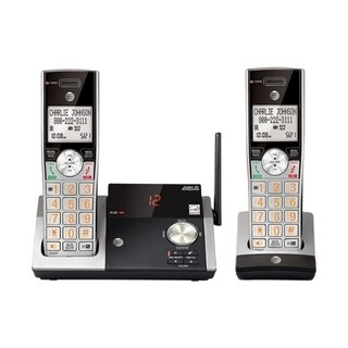 AT&T DECT 6.0 Cordless Silver/Black Digital 2 Handsets Phone Answering System with Caller ID